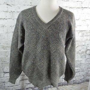 vtg Christian Dior Gray Pattern Wool Sweater